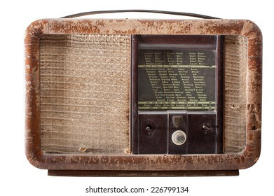 Vintage old radio from 1940's isolated on white background with clipping paths