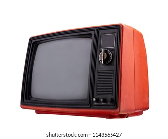 Vintage, Old red television with clipping path isolated on white background. Retro TV  technology, stack photos