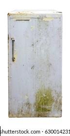 vintage old refrigerator isolated on white background
