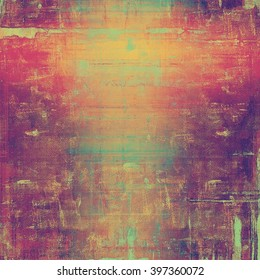 Vintage old retro background with ancient style design elements and different color patterns: yellow (beige); blue; red (orange); purple (violet); pink