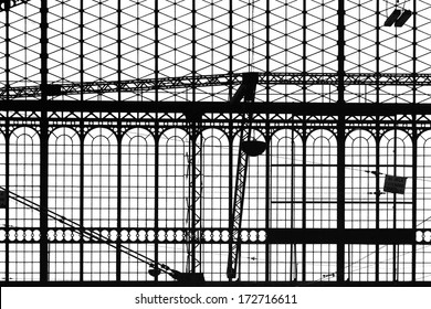 Vintage old retro train station window structure over white background.