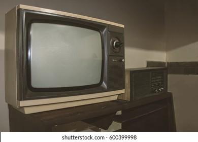 Vintage - Old retro TV and Radio  - 80's concept image