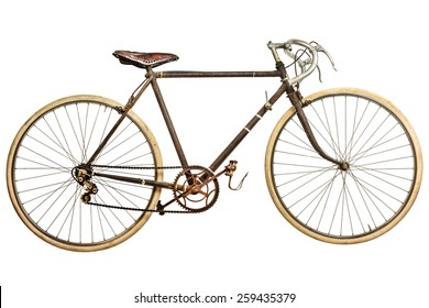 Vintage old school rusted race bike isolated on a white background