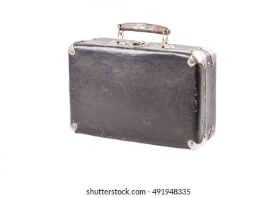 Vintage old suitcase isolated
