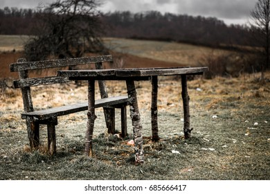 Vintage old Table with Benches in Rural landscape