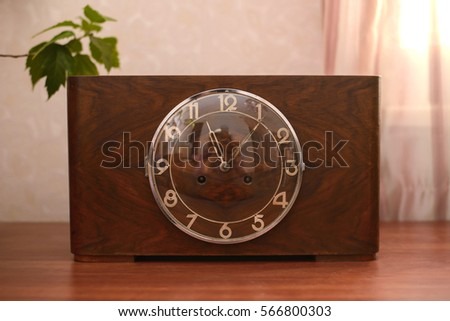 Vintage Old Table Clock Wooden Case Stock Photo Edit Now 566800303
