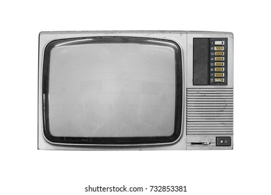 vintage old television- isolated with clipping path