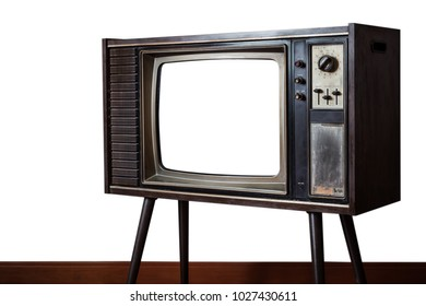 Vintage old television on white wall background in the house, Classic retro old tv technology with wood case.