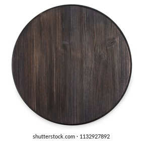 Vintage old textured wooden round cutting board isolated on a white background, top view.