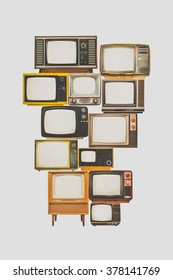 Vintage old toned photograph of old televisions