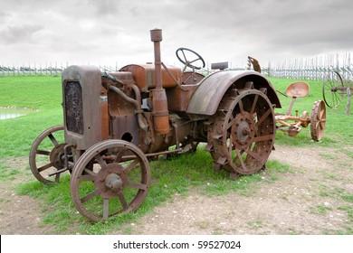 Vintage old tractor. Saaremaa island, Estonia