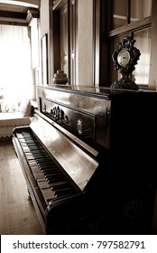An vintage old traditional piano of an old Turkish building. Mugla. Turkey