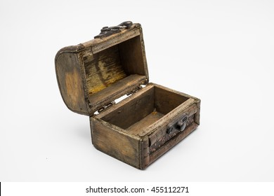 vintage  old treasure chest on white background