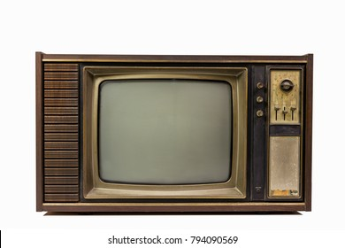Vintage old tv isolated on white background,Retro television with wood case