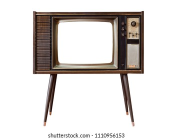 Vintage old TV standing and cut out screen with clipping path isolated on white background, Classic, retro old tv technology with wood case.
