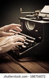 Vintage old typewriter, selective focus