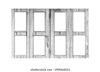 Vintage old white wooden window frame isolated on a white background