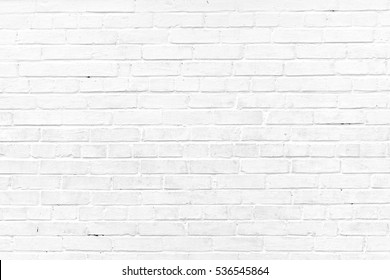 Vintage Old Whitewashed Brick Wall With Worn Surface Textured Background. Abstract White Backdrop Or Wallpaper