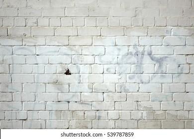 Vintage Old Whitewashed Grafitti Urban Brick Wall Textured Background. White Painted Brickwork Horizontal Texture. Abstract Dark Gray Stonewall Wallpaper.