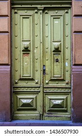 vintage old wooden green door in old Europe
