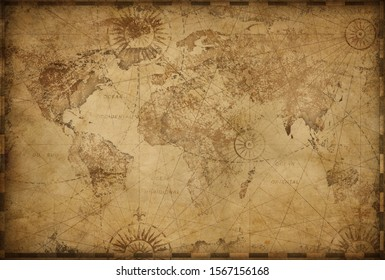 Vintage old world map based on image furnished by NASA - Shutterstock ID 1567156168