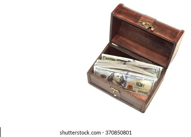 Vintage Opened Brown Wood Box With American Dollar One Hundred Bills Isolated On White Background, Top View, Close Up