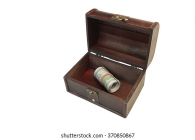 Vintage Opened Brown Wood Box With American One Hundred Dollar Cash Roll Isolated On White Background, Top View, Close Up