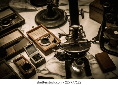 Vintage optical devices in a shop