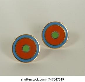 Vintage orange and blue on gold retro cuff links