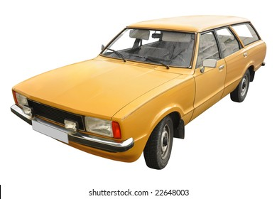 a vintage orange British station wagon car from the 70s isolated on white background