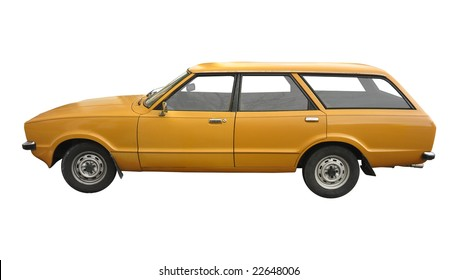 00562140dc1b1b a vintage orange British station wagon car from the 70s isolated on white  background