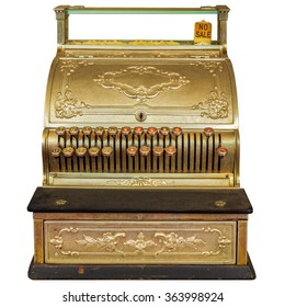 Vintage ornamental cash register isolated on a white background