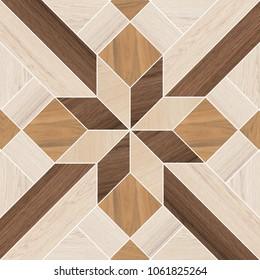 Vintage ornament.Decorative pattern.Tile mosaic.Wooden texture.Decorative geometric floor wood tile