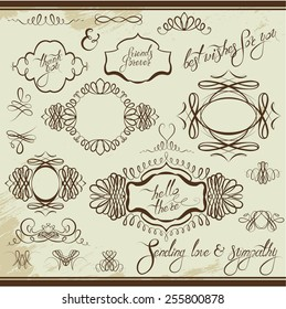 Vintage ornaments and frames, vignettes, calligraphic design elements for cards and invitation, page decoration, calligraphic text. raster version
