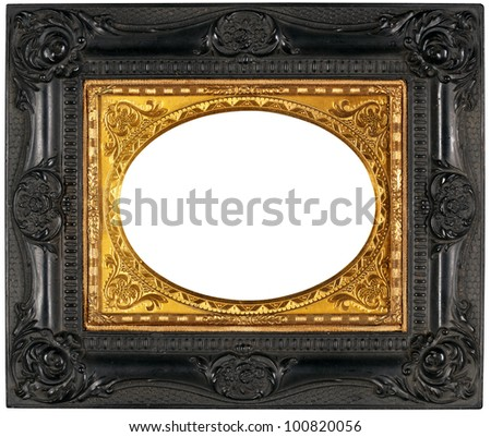Vintage Ornate Black Gold Frame Clipping Stock Photo Edit Now