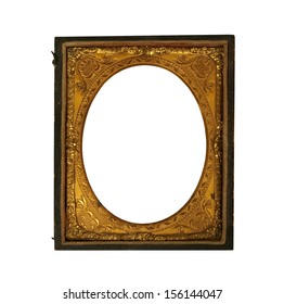 vintage ornate Daguerreotype metallic picture frame on a white background