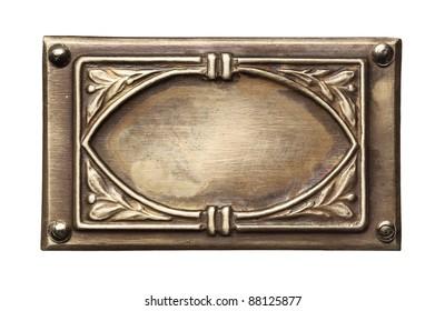 Vintage ornate metal frame, isolated.