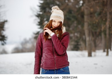 247dd2d65 Pretty Girl Warm Earmuffs Blow Snow Stock Photo (Edit Now) 576055216 ...