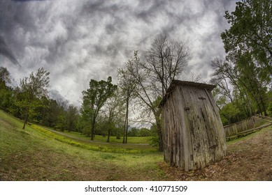 A vintage outhouse in Arkansas, USA.
