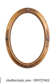 Vintage oval frame isolated on white with gold tone.