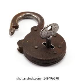 Vintage padlock with simple key