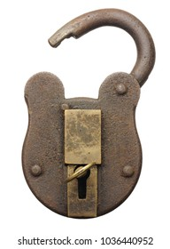 an vintage padlock unlocked and opened with key isolated on white