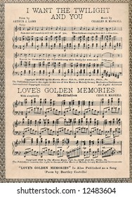 Vintage Page of Sheet Music