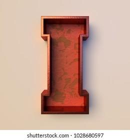 Vintage painted wood letter I with copper metal frame