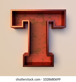 Vintage painted wood letter T with copper metal frame
