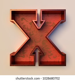 Vintage painted wood letter X with copper metal frame