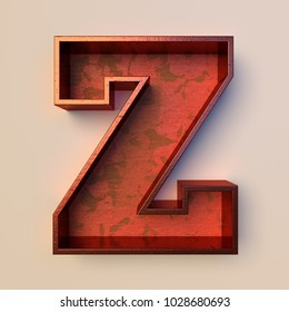 Vintage painted wood letter Z with copper metal frame