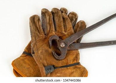 Vintage Pair Of Long Handle Cutting Pliers Nippers and well Worn Leather Work Gloves