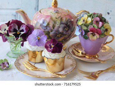 Vintage Pansy Pansies Floral Teapot, teacup, saucer cup cakes and vase - high tea party