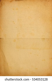 Vintage paper background with text imprint, folds and stains